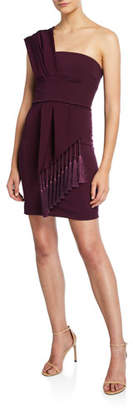 Cushnie One-Shoulder Scarf-Neck Mini Dress