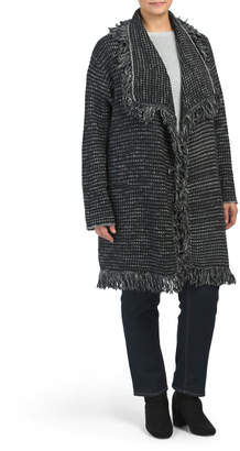 Plus Outerwear Fringed Sweater Coat