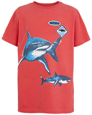 Fat Face Boys' Shark Print T-Shirt, Red