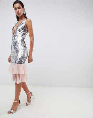 Asos Design DESIGN Embellished Sequin Plunge Midi Dress with Tulle Pephem