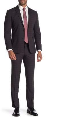 Kenneth Cole Reaction Plaid Two Button Notch Lapel 2-Piece Suit