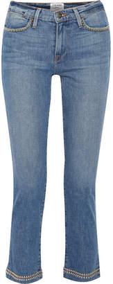 Frame Le High Studded Cropped Straight-leg Jeans - Light denim