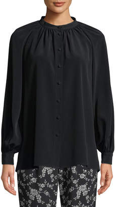 Co Long-Sleeve Button-Front Crepe Blouse