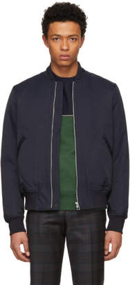 Paul Smith Navy Cotton and Nylon Bomber Jacket