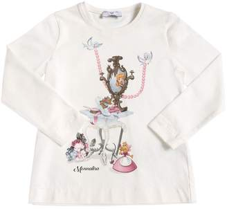 MonnaLisa Cinderella Print Cotton Jersey T-Shirt