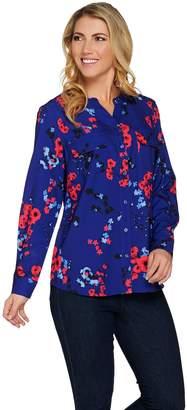 Denim & Co. Floral Print Y-Neck Button Front Woven Shirt