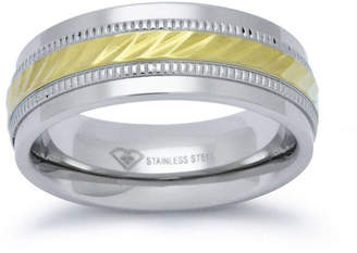 MODERN BRIDE Personalized Mens 8mm Two-Tone Stainless Steel Wedding Band