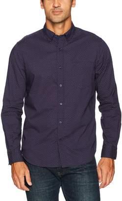 Nautica Men's Long Sleeve Cotton Printed Poplin Button Downed Shirt