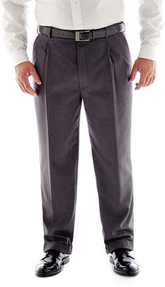 STAFFORD Stafford Travel Medium Blue Pleated Suit Pants - Big & Tall Fit