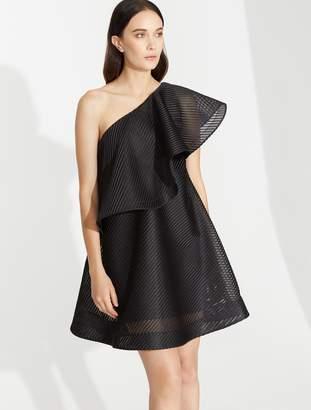 Halston Stripe Mesh Asymmetric Flounce Dress
