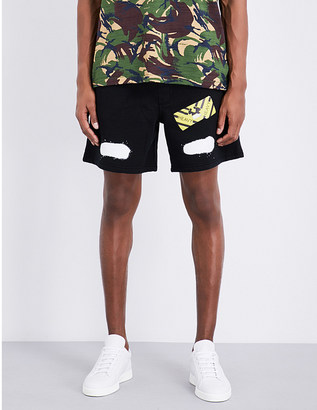 OFF-WHITE C/O VIRGIL ABLOH Spray logo-print cotton-jersey shorts $200 thestylecure.com