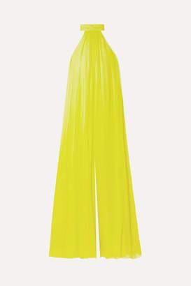 Cushnie - Open-back Silk-chiffon Jumpsuit - Chartreuse