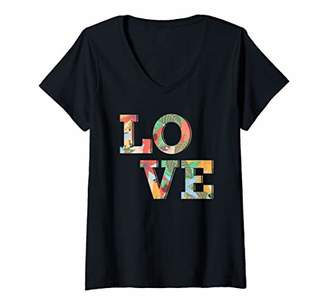 Womens Love Flowers Retro Boho Hippy V-Neck T-Shirt