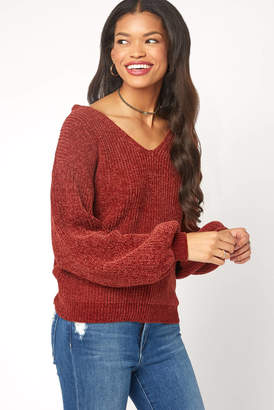 Willow & Clay Chenille Lace Up Back Pullover