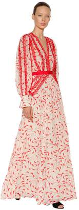 Self-Portrait Crescent Printed Chiffon Dress