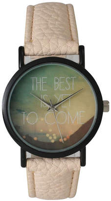 OLIVIA PRATT Olivia Pratt Womens Black The Best Is Yet To Come Multi-Color Dial Cream Leather Strap Watch 15117