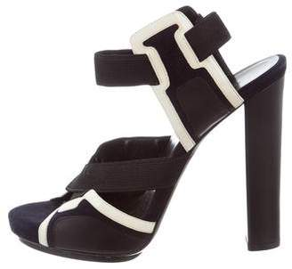 Balenciaga Suede Patent Leather-Trimmed Sandals