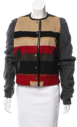 Rag & Bone Collarless Knit Sleeve Jacket