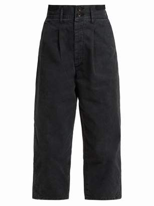 Chimala Cropped Cotton Twill Trousers - Womens - Black