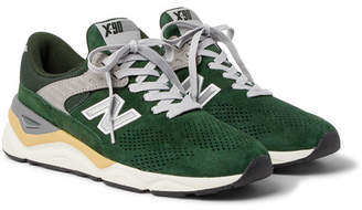 New Balance X90 Suede-Trimmed Mesh Sneakers - Men - Green