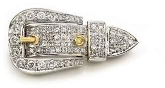 Gucci 18K White & Yellow Gold Diamond Buckle Brooch