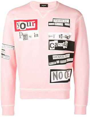 DSQUARED2 newspaper slogan print sweatshirt