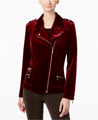 INC International Concepts Velvet Moto Jacket, Only at Macy's $119.50 thestylecure.com