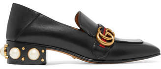 Gucci Peyton Logo And Faux Pearl-embellished Leather Collapsible-heel Pumps