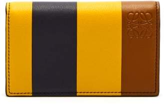 Loewe Anagram Striped Leather Card Holder - Mens - Yellow Multi
