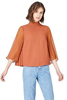 FIND Women's Blouse with Dobby Sleeve and Standing Collar