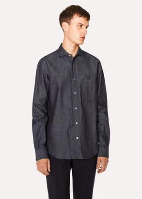 Paul Smith Men's Tailored-Fit Indigo Denim Shirt With Bike Button Detail