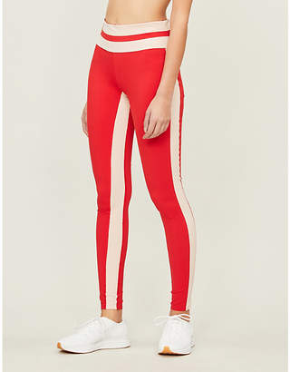 c5f3de84f309 Vaara Womens Red Poudre Stripe Flo Tuxedo Stretch-Jersey Leggings