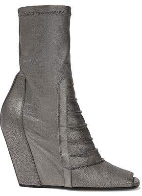 Rick Owens Ruhlmann Metallic Cracked And Stretch-leather Wedge Ankle Boots