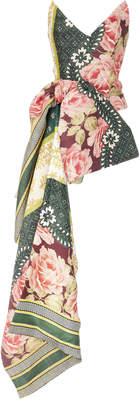 Oscar de la Renta Strapless Floral Print Bustier Drape Top