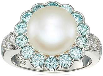 Swarovski Platinum Plated Sterling Silver Freshwater Pearl Flower with Zirconia Accents Ring