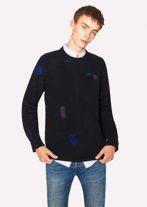 Paul Smith Men's Navy Wool-Blend Ribbed Sweater With Darning Detail
