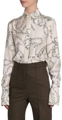 Victoria Beckham Chain-Print Silk Button-Front Top