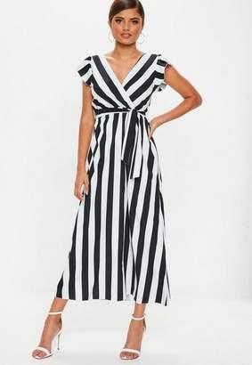 Missguided Black Monochrome Stripe Maxi Dress