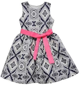 Joe-Ella Crisp Cotton Mosaic Dress with Sash (Little Girls & Big Girls)