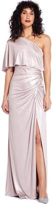 Adrianna Papell Dusted Petal Metallic Draped Gown
