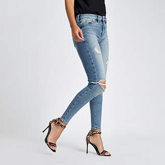 River Island Mid blue Molly ripped skinny jeggings