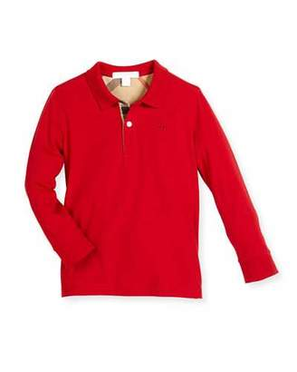 Burberry Long-Sleeve Mini PPM Jersey Polo Shirt, Military Red, Size 4-14 $85 thestylecure.com