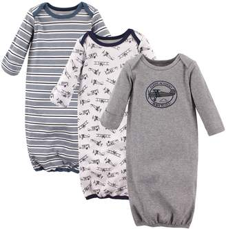 Hudson Baby Baby Infant Cotton Gown, 3 Pack