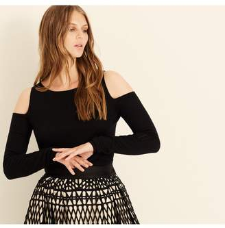 Amanda Wakeley Black Cold Shoulder Cashmere Top