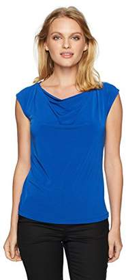 Calvin Klein Women's Petite Cap SLV Drape Neck Top