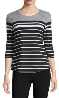 Karen Scott Petite Striped Cotton Blend Top