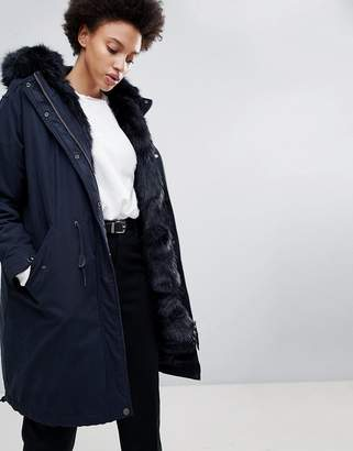 Parka London Connie Military Parka Coat with Faux Fur Lining