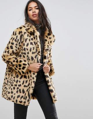 Asos Design Faux Fur Coat in Leopard Print