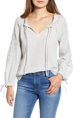 2b34efef99f2c4 Lucky Brand Metallic Embroidery Cotton Peasant Blouse