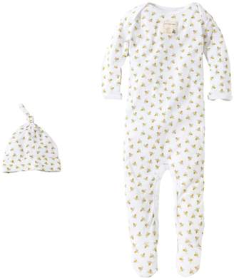 Burt's Bees White Bee Print Organic Baby Footed One Piece Jumpsuit and Hat